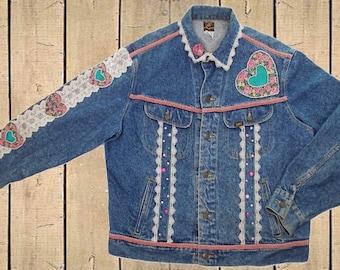 Vintage Lee Customized Embellished Denim Jacket Blue XL