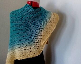 Handmade shawl/wrap/cape/pareo in turquois/yellow unikat yarn 50% cotton/50% acrylic