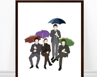 Beatles Umbrellas Print, The Beatles Art Print, Beatles Art, Beatles 65, Minimalist Poster
