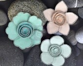 SALE CLEARANCE 30% 0FF: Prima Regency/ Queen Mary - Vintage 566203 Aqua Pink Mulberry paper flowers with Silver beaded edge
