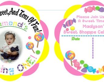 Personalized Birthday Lollipop Invitations