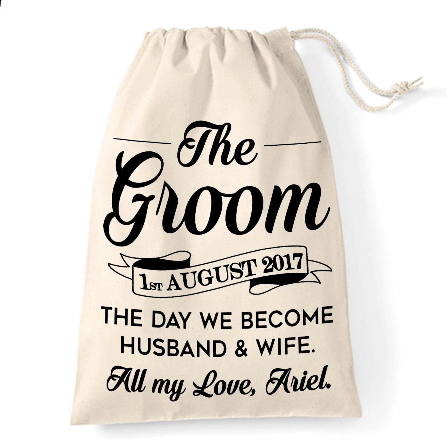 Wedding Gift For Husband To Be : Gift bag for the Groom Personalised husband to be wedding