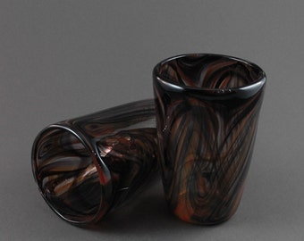 Two Hand Blown Feathered Glasses