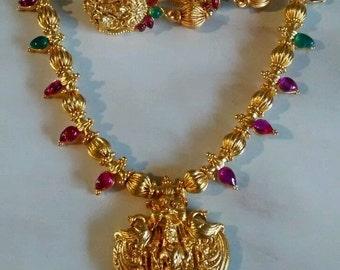 hindu godddess lakshmi temple pendant/necklace/earring set