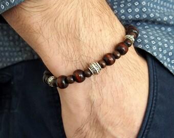 """Bracelet de perles pour homme """"Mathieu"""" / Perles bois naturel / Bijou pour Homme / Perles brun"""