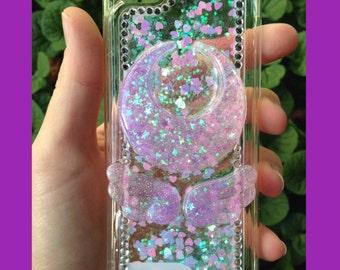 iPhone 5c Purple Glitter Waterfall Decoden Case