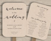 Wedding Program Fan Template - printable rustic wedding fan - EDITABLE by YOU in Word - calligraphy style - print on Kraft