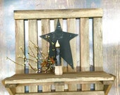Rustic Wall Shelf with Star and Candle