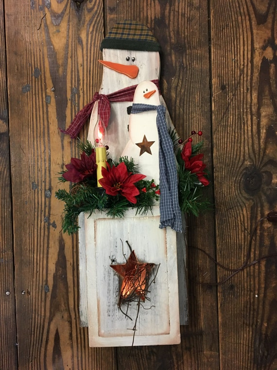 Star BElly Snowman Dual Lighted Rustic Wood Decor