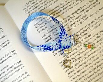 Blue flowers crystal bookmark