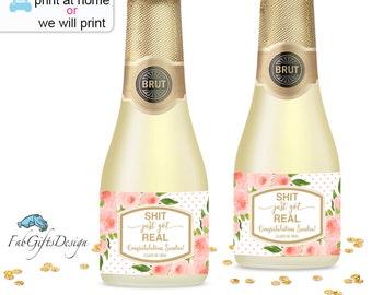 Personalized Graduation Mini Bottle Labels – Graduation Mini Champagne Labels,Custom Graduation Stickers, Grad Label, College Wine Label