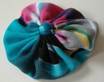 Fabric Yoyo Hair Clip, 2 Inch Hair Clip, Suffolk Puff Hair Clip, Green Red Black Barrette, Round Hair Clasp, Repurposed Fabric