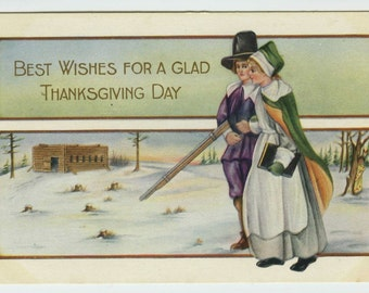Whitney Thanksgiving Greetings Pilgrim Couple Out for Walk c1910 Embossed Postcard