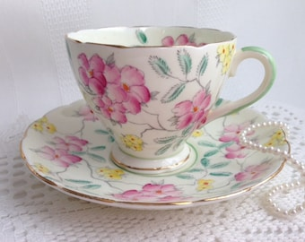 E B Foley China Tea Cup and Saucer, Lovely Pink, Yellow and Green Floral Detail, Circa 1930s
