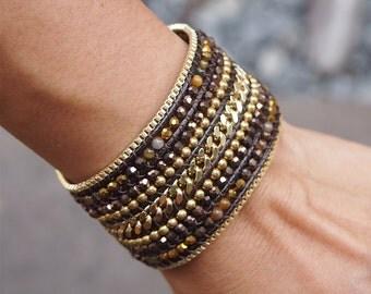Brown mix Beaded Cuff Bracelet with Chain, Statement bracelet, beadwork bracelet