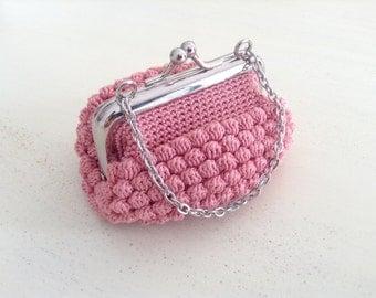 Crochet coin purse, purse with mouthpiece, coin purse with nozzle, coin purse crochet,