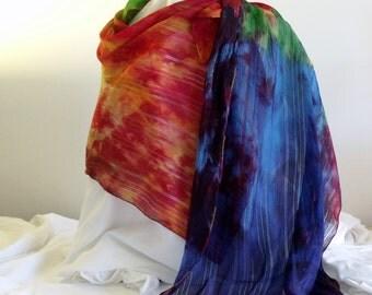 Rainbow Silk Shawl.  Hand painted silk charmeuse softly drapes