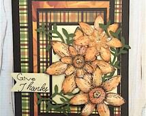 Handmade Thanksgiving Card, Happy Thanksgiving Greetings, Cards Handmade, Fall Card, Happy Thanksgivng Birthday, Thank You Card, Autumn Card