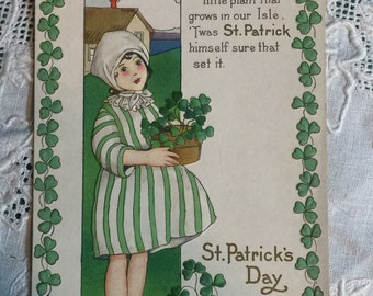 Authentic Vintage Postcard - Margaret Evans Price - Stecher Litho Co - St. Patrick's Day Card - Embossed - Artist Signed ( M.E.P.)
