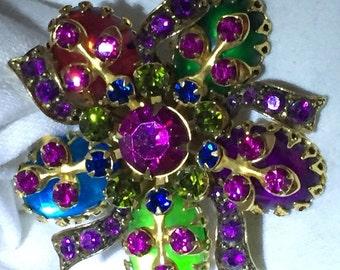 Selini ornate jewel toned brooch
