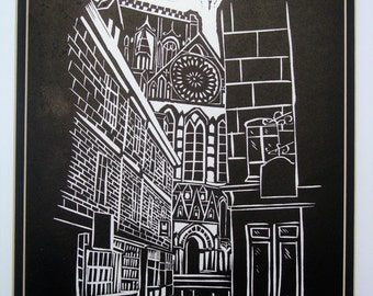 York Minster, York Print, Gothic, Cathedral, lino cut hand printed