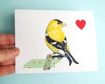 Valentine's Bird Card, Watercolor Card, Watercolor Bird, Greeting Card, Bird Art, bird print, goldfinch bird, yellow bird blank card