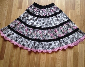 Pink and Black Tiered Lolita Skirt.  Small