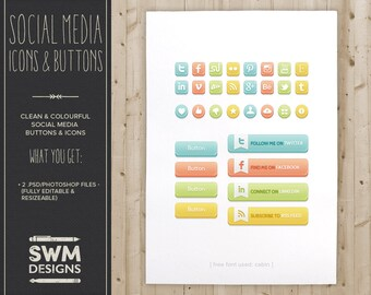 Social Media Buttons & Icons - Instant Download