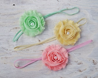 SALE 50% OFFShabby Flower Headband, Pick a colour, Pink, Yellow, Green