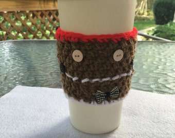 Gingerbread Man Coffee Cup Cozie/Coffee Cup Cover/Crochet Gingerbread Wrap/Christmas Cup Cozy/Brown Crochet Cozy
