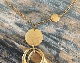 Vintage gold token necklace