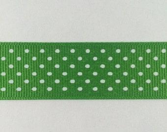 ON SALE 7/8 Inch Apple Green and White Swiss Dot Grosgrain Ribbon