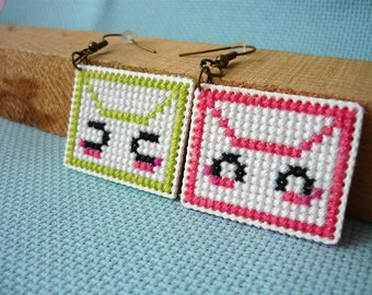 Cross stitch earrings - kawaii letters, earrings on plastic canvas, embroidered earrings