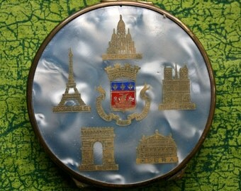 Vintage French Powder Compact Famous Paris Landmarks