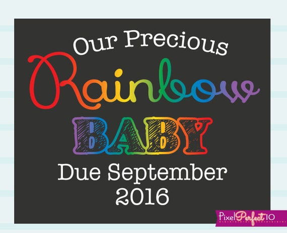 Rainbow Baby Pregnancy Reveal Printable Sign