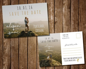 Rustic Save The Date Photo Postcard