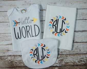 Baby boy gown, bib, burp; Baby boy gown; Baby boy 3 piece set; Infant boy shower gift; Baby boy burp cloth; baby shower gift; baby boy bib