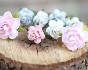 White Pink Blush Dusk Blue Flower Hair Bobby Pins Rose Hair Pin Flower Hair Pick Floral Bobby Pins Hair Accessories Bridesmaid Pink Hair Pin