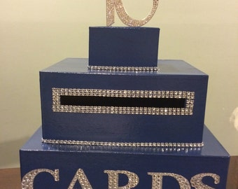 Royal blue card box