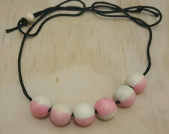 Pink Painted round wooden bead necklace
