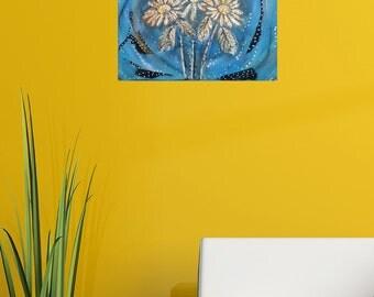 Mixed media, Acrylic painting, Daisy Universe, Wall Art, Decor