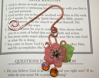 Solid Copper  Bookmarker With Flower