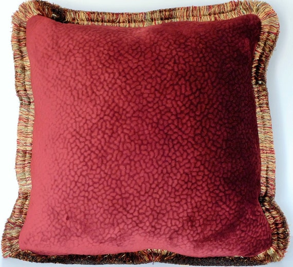 burgundy textured red velvet throw pillow by justtherightpillow