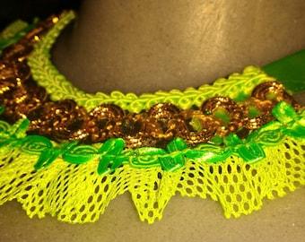 Faralao glow green bib necklace