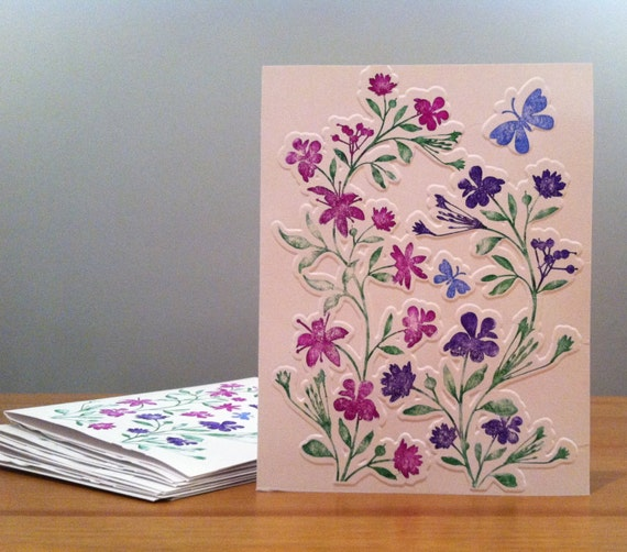Prettyfolio hand stamped embossed floral handmade greeting cards hand stamped embossed floral handmade greeting cards set of 8embossed cards m4hsunfo