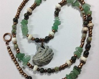 Aventurine Russian Serpentine Shell Necklace