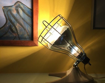 Vintage Lamp / Industrial Cage Spotlight / Industrial Lighting / Industrial Desk Lamp