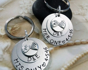 Pinky Promise Keychains,Set of 2 Key Chains,Wedding Key chains,Wedding Gift,Anniversary Gift,Anniversary Keychains,His and Her Keychains
