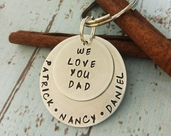 Personalized Dad Key Chain, Father's Day Gift, Gift For Dad, Father Key Chain, Father Keychain, Kid Name Key Chain, Hand Stamped Key Chain