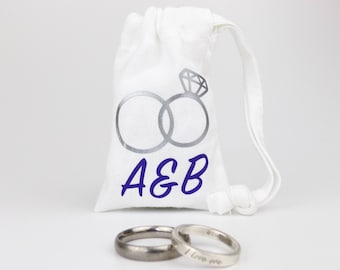 Personalised Wedding Rings Bag -  100% Cotton - Empty - Great Wedding Gift - Personalized with Bride & Groom's Initials